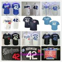 beyaz formaları beyzbol toptan satış-Jackie Robinson Günü Forması Los Angeles Brooklyn # 42 Dodgers Beyaz Siyah Mavi Krem Retro 1955 Dikişli Vintage Beyzbol Formalar