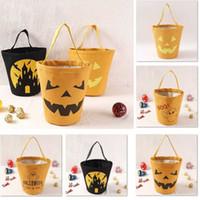Wholesale kids girls designer handbags for sale - Group buy Halloween Candy Bucket Gift Wrap Girls Boys Child Kids Candy Collection Canvas Bag Handbag Festival Storage Basket Styles DHL XD21315