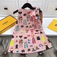 Wholesale girl dresses sleeveless resale online - 2020 new Kids Girls Dresses Toddler Printed Flower Baby Girl Sleeveless Party Tutu Summer Dress