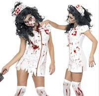 pflege partei kleid großhandel-Neue Halloween-Cosplay Kostüm-Kleid Krankenschwester Kleidung Scary Weiß Fanny verkleiden Partei-Kostüm für Frauen mit Hut