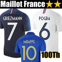 camisetas de la marina de guerra al por mayor-Camiseta de fútbol de Francia 2019 100 aniversario MBAPPE GRIEZMANN POGBA 2 estrellas Camisetas de fútbol francesas LEMAR HERNANDEZ KANTE camiseta de fútbol equipos de fútbol superior
