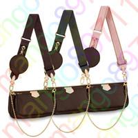 çanta cüzdan seti toptan satış-Tasarımcı Bayan Çantalar Çanta Çiçek Bayanlar Kompozit Bez Deri Debriyaj Omuz Çantaları Bayan Çantası Cüzdan 3pcs / set