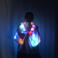 Wholesale club singer clothing online - P39 Colorful led light fur coak dj wears luminous cloak stage singer dress glowing led costumes party lighted clothe disco rave outfits club
