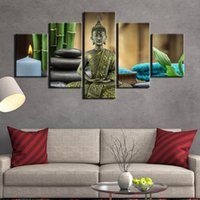 Wholesale buddha paintings for living room resale online - 5 pieces Abstract Buddha Modern printed home decor canvas painting wall art picture for living room posters and prints
