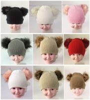 melhores chapéus de crianças venda por atacado-2019 INS Baby Kids Duplo Fur bola gorro de malha Crochet meninos meninas Fur Cap Ski Pom Gorros Inverno Quente estudantes Pom Pom Hat chapéus do partido melhores