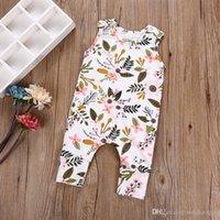 ingrosso ragazzi della ragazza del bodysuit-Summer Baby Girl Flower Leaves Tuta Toddler senza maniche in cotone Pagliaccetti Neonato Outfit Tuta Kid Abbigliamento set