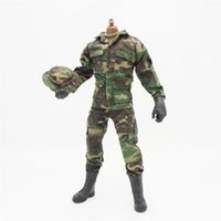 Wholesale woodland uniform for sale - 1 Scale Accessories Female Clothes Woodland Green Camo Soldier Uniforms set For quot Male Military Action Figure Body