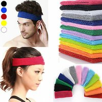Wholesale sport head band men for sale - Group buy NEW Cotton Women Men Sport Sweat Sweatband Headband Yoga Gym Stretch Head Band Hair Band Colors ZZA699