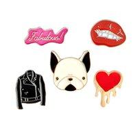 Wholesale dog collars denim resale online - Red Lip Coat Dog Head Coat Love Brooch Children Jewelry Gift Badge Hard Enamel Pin Collection Shirt Collar Decor Bag Denim Hat Accessory