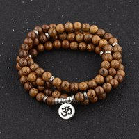 деревянный лотос оптовых-Multilayer 108 Wood  OM Lotus Bracelet Tibetan Buddhist Mala Buddha Charm Bracelet Yoga Rosary Wooden For Women Men Jewelry