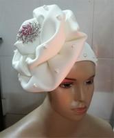 Wholesale african head wraps resale online - African head wraps african ready to wear gele headwrap flower cap
