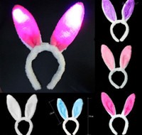oreja de conejo orejas de conejo al por mayor-Flash Light Conejo Diadema Luz Intermitente LED Felpa Fluffy Bunny Conejo Orejas Diadema Cola Corbata Disfraz Cosplay
