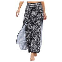 Wholesale bohemian yoga pants for sale - Group buy Summer Women Casual Bohemian Baggy Floral Printed High Waist Comfy Loose Stretch Wide Leg Sport Yoga Pants Trousers Plus Size g4
