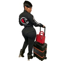 sıcak satmak tozlukları toptan satış-Şampiyonlar kadın Tulumlar Tulum güz kış marka tam uzunlukta pantolon tayt bodysuits uzun kollu Hırka düğme sıcak satmak moda 1244