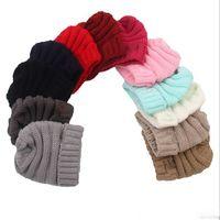 Wholesale newborn babies skull caps resale online - Baby winter Hats Trendy Beanie Crochet Fashion Newborn Children Wool Knitted Caps Warm caps Outdoor Hat