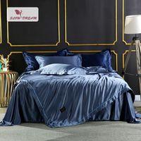 blaue seide tröster sätze großhandel-SlowDream Luxus Bettwäsche-Set Tröster Silk Bettbezug Satin Tagesdecke Silky Bettwäsche Doppelbettlaken Blue Queen König Bettwäsche