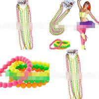 neon boncuk bilezikler toptan satış-Renkli Boncuk Zincir Dans Parti Neon Boncuk Kolye Gerçek Renk Neon Bağlı Plastik Bilezik Sıcak Satış 3 2ap L1