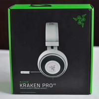 kulaklık seti kulak minderi toptan satış-Razer Kraken Pro V2 Kulaklıklar Analog Gaming Headset PC Xbox One ve Playstation 4 için Mic Oval Kulak Yastıkları ile tamamen geri çekilebilir