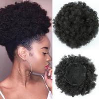 saç topuzları klipsleri toptan satış-Yüksek Puf Afro Kıvırcık At Kuyruğu İpli Kısa Afro Kinky Midilli Kuyruk Kanekalon Made Sentetik Kıvırcık Saç Bun Uzatma üzerinde Klip