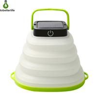 weiße zelte im freien großhandel-LED-Solar Camping Licht im Freien zusammenklappbaren Beleuchtung LED-Taschenlampe bewegliche Laterne Mini-Zelt-Licht Notlampe warmweiß buntes Licht