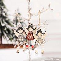 sinos de vento de anjo venda por atacado-Nordic madeira Angel Doll Hanging LX8621 Decoração de Natal Ornamentos Wind Chime Pendant Xmas Tree Decor Navidad Craft Gift