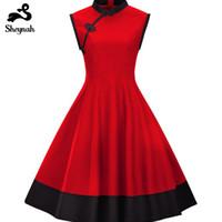 plus größe kleidung mandarin kragen großhandel-Plus Size Frau Kleid Vintage Chinesischen Stil Qipao Große Größe Retro Kleidung Stehkragen Sleeveless Elegant Abend Vestidos J190511