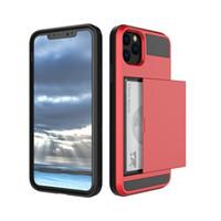 ingrosso supporto di carta duro dell'involucro di iphone-Far scorrere supporto di carta ibridi Custodie Cellulari per Iphone 11 Pro Max Samsung Galaxy Note 10 Hard Case più del Mobile S10 J6 J7