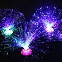 lâmpada de fibra óptica em mudança de cor venda por atacado-5pcs Creative Color Mudar Led Fibra Óptica flor pequena lâmpada férias Nightlight Sala Principal Wedding Party Decoration