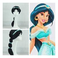 Wholesale girl child wig resale online - Aladdin Lamp Jasmine Princess Cosplay wig cartoon children girls braid Women Fluffy headgear C6812