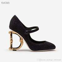d pompalar toptan satış-Kadınların Yüksek Topuklu Ayakkabı Giysileri, Mary Janes Klasik D Barok G Oymalı Topuklu Sandalet Takozlar
