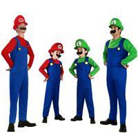 vokaloid yılbaşı cosplay toptan satış-Süper Mary Mario Aile Kostüm Cadılar Bayramı Kostümleri Yetişkin ve Çocuklar için Parti Cosplay Karnaval Fantezi Giyim Erkek Kız Üniformaları