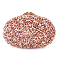 клатчи оптовых-Pink Crystal Rhinestone Evening Clutch Bag Hollow Out Gold Metal Clutches Women Dinner Purse And Handbags Ladies Party Clutches