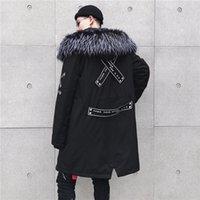 parka jacke herren schwarz großhandel-2019 neue High Street Black Hooded Lange Wintermode Jacke Herren Parka