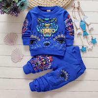 erkek pantolon markaları toptan satış-YENI Bebek Erkek 1-4years Kız Suit Marka Eşofman 2 Çocuk Giyim Seti Sıcak Satmak Moda İlkbahar Sonbahar çocuk Elbiseleri Uzun Kollu Kazak