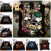 ingrosso skull bedding-Forever Love Skull Bedding Set 3PC Copripiumino Set Copripiumino Lenzuolo Federa US / UK / AU Taglia