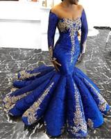 vestido dorado azul real largo al por mayor-Elegantes lentejuelas sirena vestidos de noche sexy fuera del hombro apliques de oro de manga larga vestido de fiesta fabuloso azul real vestidos del desfile