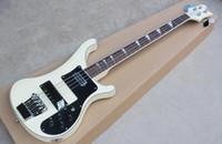 ingrosso bassi chitarra in china-2019 RIC 4 Strings Crema 4003 Basso elettrico nero Hardware Triangolo MOP Tastiera Inlay Impressionante Cina Guitars Special Binding3 corpo
