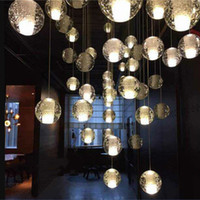 lampes d'escalier achat en gros de-LED Cristal Boule De Verre Pendentif Lampe Meteor Plafond Lumière Météorique Douche Escalier Lustre De Lustre Éclairage AC110V-240V