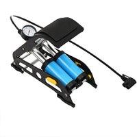 elektro-fahrrad-rohr großhandel-Fußpumpe Mini Portable Fahrrad Elektroauto Luftpumpe Auto Hochdruck Doppelrohrboden # 107211