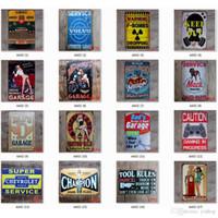 pintura a óleo velha da casa venda por atacado-SINAL Campeão retro Motor Oil Garagem Route 66 Retro TIN Vintage Old Metal Wall Art Painting Bar / caverna do homem / Pub / restaurante de decoração para casa