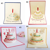 Wholesale birthday cake pop up resale online - 3D card birthday cake D Pop UP Gift Greeting Blessing Cards Handmade paper silhoue Creative Happy christmas cards