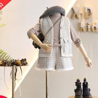 çocuklar kıyafetler kış ayarlar toptan satış-Kız Kış Giyim Yuvarlak Yaka Yelek + Kısa Çocuklar Kız Şık giyim Setleri setleri