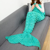 Wholesale handmade gifts for birthday girls resale online - New Mermaid Blanket High Quality Blankets Knitting Fish Tail Blanket Sofa Cover Birthday Gifts For Girls