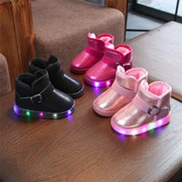 Wholesale baby shoes shine resale online - Children Shoes Lovely Kids Booties Children Baby LED Light Up Luminous Sneakers Winter Keep Warm Solid Shining Snow Boot