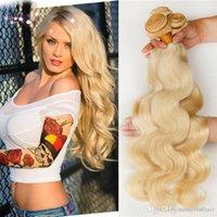 rubia de la trama del pelo ruso al por mayor-ELIBESS Hair - Body wave Hair Bundles 100% Human Russian 613 Blonde color Hairthft 100Grams, DHL GRATIS