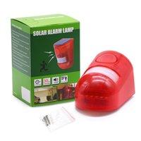 sirene für hausalarm großhandel-Sicherheitsalarm Solar Power Alarm Lampe Licht IP65 Wasserdicht 110dB Laute Sirene Eingebauter PIR Bewegungssensor Für Home Yard Outdoor