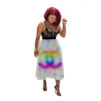 vestido de mosaico de arco iris al por mayor-2019 Diseñador Mujer Vestido de Verano Multi Color del Arco Iris Vestidos Ajustados Plisados Lujo Patchwork Falda Corta Partido Vestido de Las Mujeres Ropa C7811