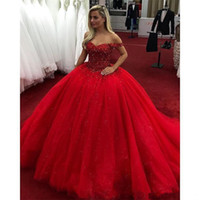 ingrosso vestito da promenade brillante-2019 Ball Gown Bright Red Quinceanera Abiti Off the Shoulder Perline Cristalli Lace Up Sweet 16 Abiti Prom Dresses abiti da quinceanera