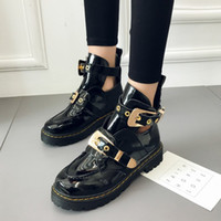 Wholesale shoes cutouts resale online - Women Shoes Leather Ankle Motorcycle Boots Riding Gladiator Bootie Flats Cutout Square Heel Buckle Runway Boots For Woman Size42