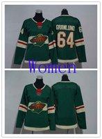 venda de camisas de hóquei em branco venda por atacado-Venda Hot Mulheres Minnesota Wild 64 Mikael Granlund Green Home Ice Hockey Jersey em branco Mulher costurado NHL Jerseys
